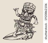 man in hawaiian tiki mask... | Shutterstock .eps vector #1920862106