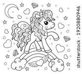 cute cartoon unicorn. black and ... | Shutterstock .eps vector #1920880946
