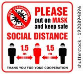 warning sign put on mask and... | Shutterstock .eps vector #1920894896