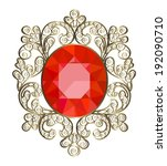 vintage brooch with ornate gold ... | Shutterstock .eps vector #192090710