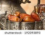 silver bowl filled with dates...   Shutterstock . vector #192093893