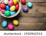 Colorful Easter Eggs In Wicker...