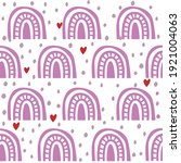 pink boho rainbow with hearts...   Shutterstock .eps vector #1921004063