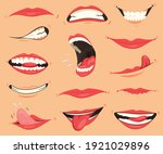 mouth expressions. lips with a...   Shutterstock . vector #1921029896