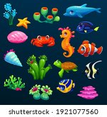 pretty cartoon underwater icons ...