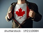 man stretching jacket to reveal ... | Shutterstock . vector #192110084