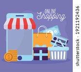 online shopping lettering and... | Shutterstock .eps vector #1921192436
