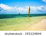 a sailboat waiting to set sail  | Shutterstock . vector #192124844