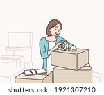 young woman packing box indoors.... | Shutterstock .eps vector #1921307210