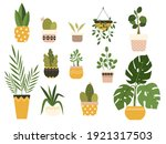 potted plants collection. urban ... | Shutterstock .eps vector #1921317503