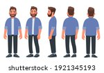 bearded man in casual clothes.... | Shutterstock .eps vector #1921345193