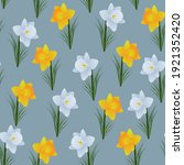 A Pattern Of Daffodils On A...