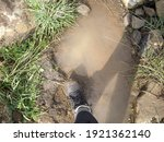 Hiking Boot In A Muddy Water...