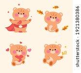 cute brown bear set. funny... | Shutterstock .eps vector #1921380386