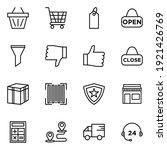 e commerce icon set line style...