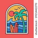 line style vector surfing badge ... | Shutterstock .eps vector #1921442270