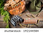Hunting accessories in a forester cottage - stock photo