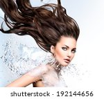 Fashion Model Woman With Water...