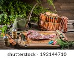 Venison marinated immediately after the hunt - stock photo