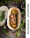 Roasted venison with vegetables - stock photo