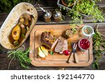Dinner with venison served in the forester cottage - stock photo