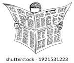 morning newspaper reader. art... | Shutterstock .eps vector #1921531223