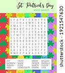 st. patrick's day word search... | Shutterstock .eps vector #1921547630
