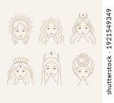 set of beautiful goddess... | Shutterstock .eps vector #1921549349