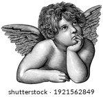 pensive angel. art detailed... | Shutterstock .eps vector #1921562849