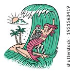 skull and mermaid surfing... | Shutterstock .eps vector #1921563419