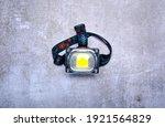 Head Torch Flashlight On Gray...