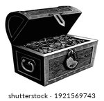 a chest of gold coins. treasure.... | Shutterstock .eps vector #1921569743