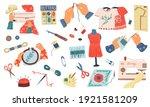 embroidery set. cartoon needle... | Shutterstock .eps vector #1921581209
