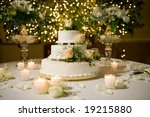 wedding cake on the decorated... | Shutterstock . vector #19215880