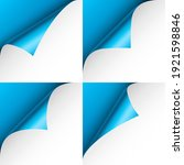 set of blue paper curls. curled ... | Shutterstock .eps vector #1921598846