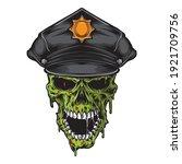 skull zombie wearing police hat ...   Shutterstock .eps vector #1921709756