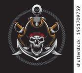 screaming skull pirate vector... | Shutterstock .eps vector #1921709759