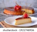 Small photo of Caramel custard Custard pudding Flan crema volteada dessert - Creme caramel is a custard dessert garnished with a coating of caramel sauce