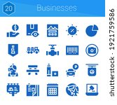 businesses icon set. 20 filled...