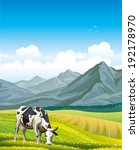 Cartoon Cow And Rural Meadow...