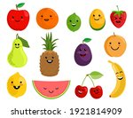 happy cute smiling fruit face... | Shutterstock .eps vector #1921814909