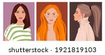 set of portraits of women of... | Shutterstock .eps vector #1921819103