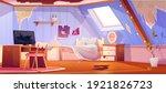 old dirty girl bedroom on attic....   Shutterstock .eps vector #1921826723