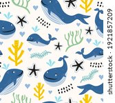 seamless pattern whales with... | Shutterstock .eps vector #1921857209