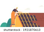 roofer man residential building ... | Shutterstock .eps vector #1921870613