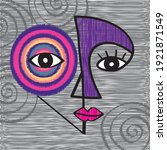 face line art. contemporary... | Shutterstock .eps vector #1921871549
