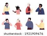 set of portraits of people...   Shutterstock .eps vector #1921909676