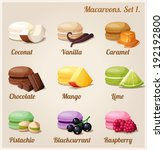 macaroons with different...   Shutterstock .eps vector #192192800