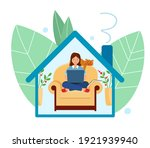 stay at home. work and study... | Shutterstock .eps vector #1921939940