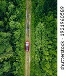 Aerial View Of Red Car With A...